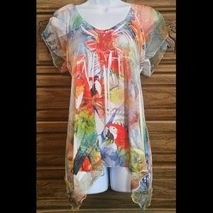Tropical Style Blouse with Flowing Short Sleeves